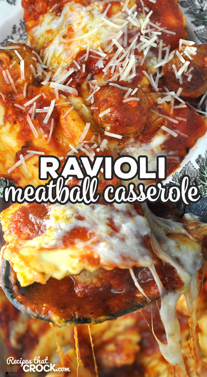 This Ravioli Meatball Casserole recipe for your oven is super easy to throw together and incredibly delicious! It is a great dinner for any day! via @recipescrock