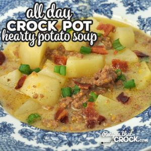 This Hearty Crock Pot Potato Soup recipe has it all! Cheese, beef, bacon, potatoes, onion. What more could you ask for?! It is delicious and filling!