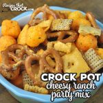 This Cheesy Ranch Crock Pot Party Mix is fun to make and delicious to boot! You and your loved ones will love this recipe!