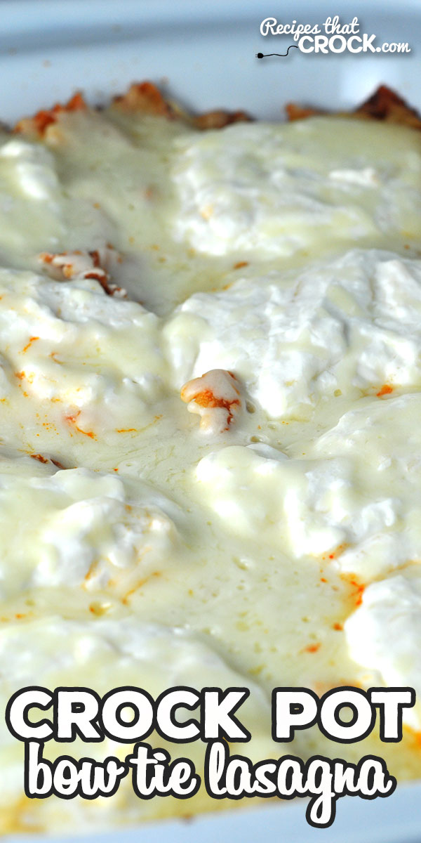 If you are looking for a delicious recipe to cRock your pot, you do not want to miss this Crock Pot Bow Tie Lasagna recipe! It is incredibly yummy! via @recipescrock