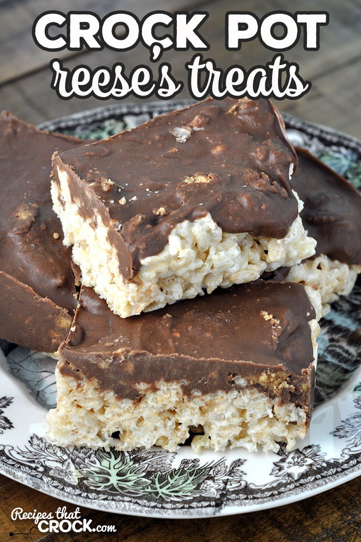 This Crock Pot Reese's Treats recipe takes your regular rice krispy treats up a level with delicious melted Reese's Cups on top! So yummy! via @recipescrock