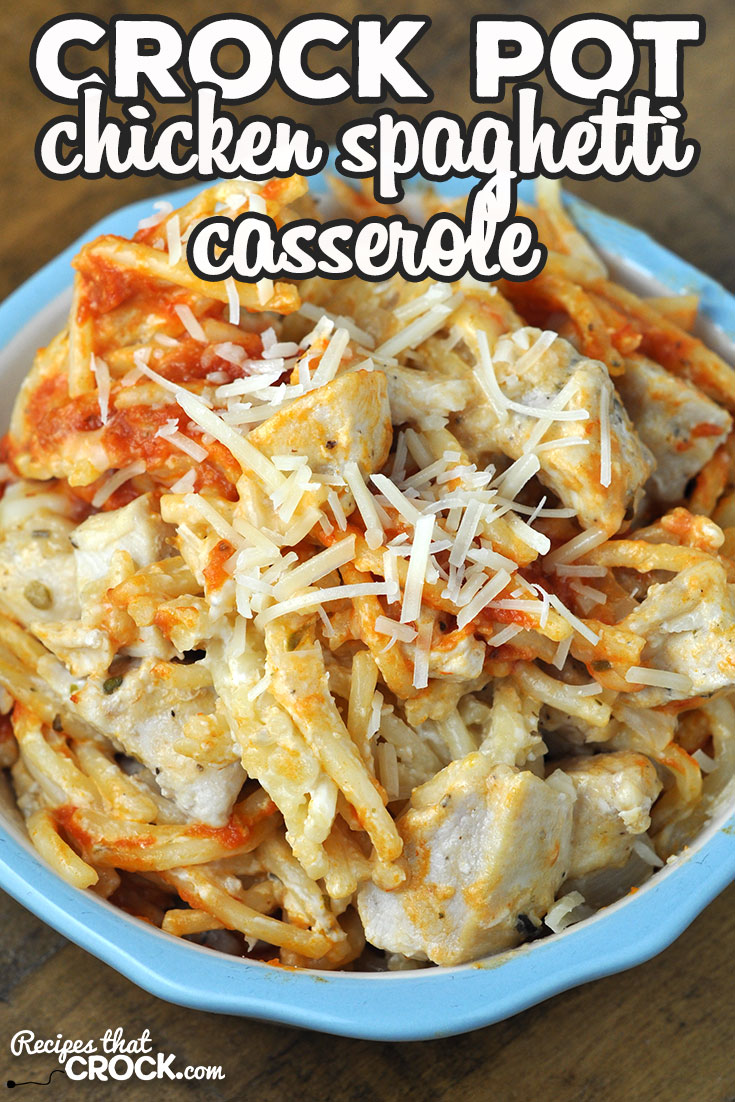 Switch up spaghetti night with this delicious Crock Pot Chicken Spaghetti Casserole recipe. It is super tasty and easy to throw together! Win win! via @recipescrock