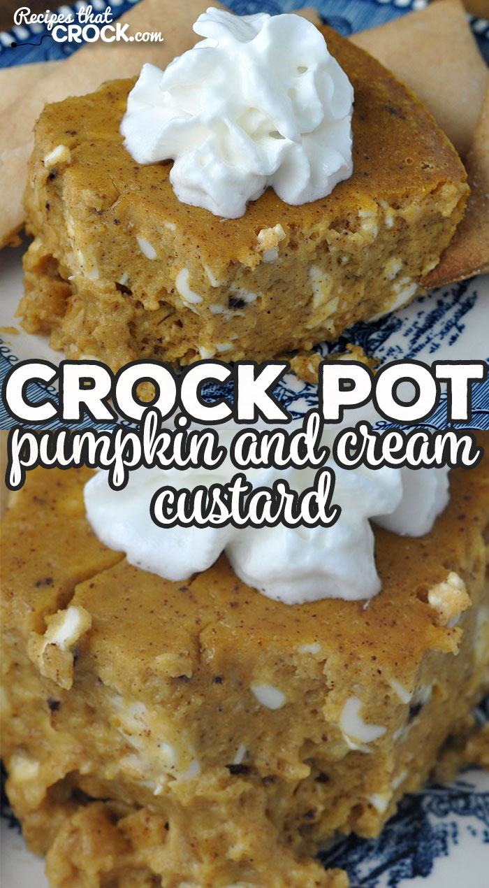 This Crock Pot Pumpkin and Cream Custard recipe is surprisingly simple and incredibly delicious! Everyone will rave about this yummy treat! via @recipescrock