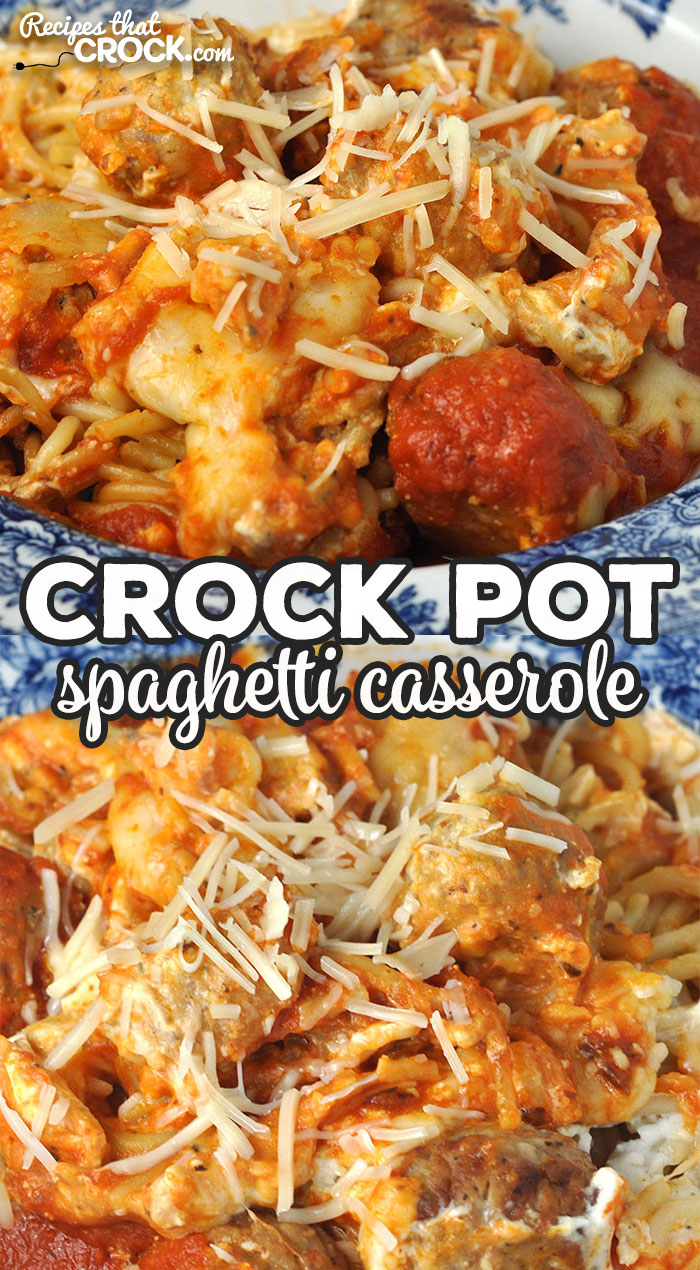 I love the amazing flavor of this Crock Pot Spaghetti Casserole. Better yet, it is super easy to throw together too! I bet you and your loved ones will love it too! via @recipescrock