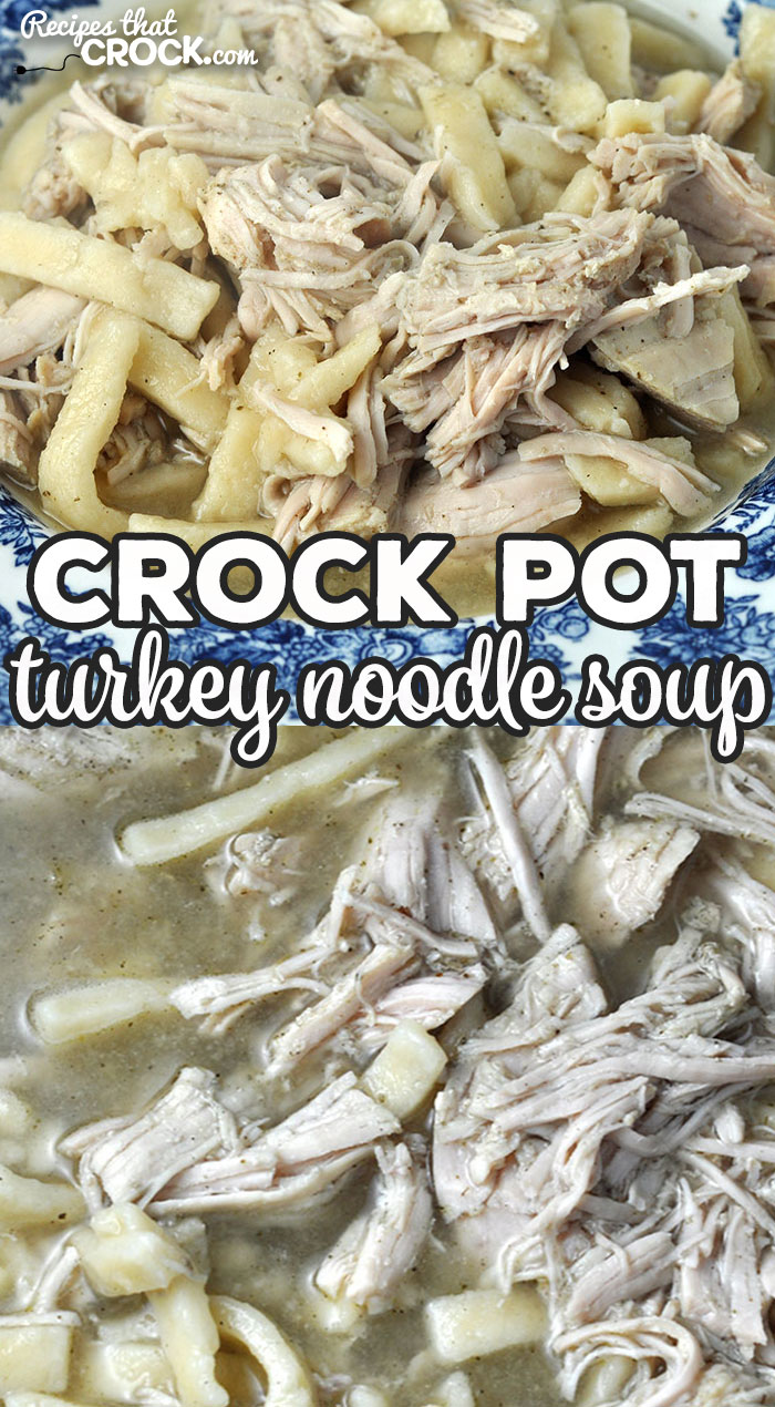 This Crock Pot Turkey Noodle Soup recipe can be made with freshly cooked turkey or leftover turkey. Either way, it is an amazing treat! via @recipescrock
