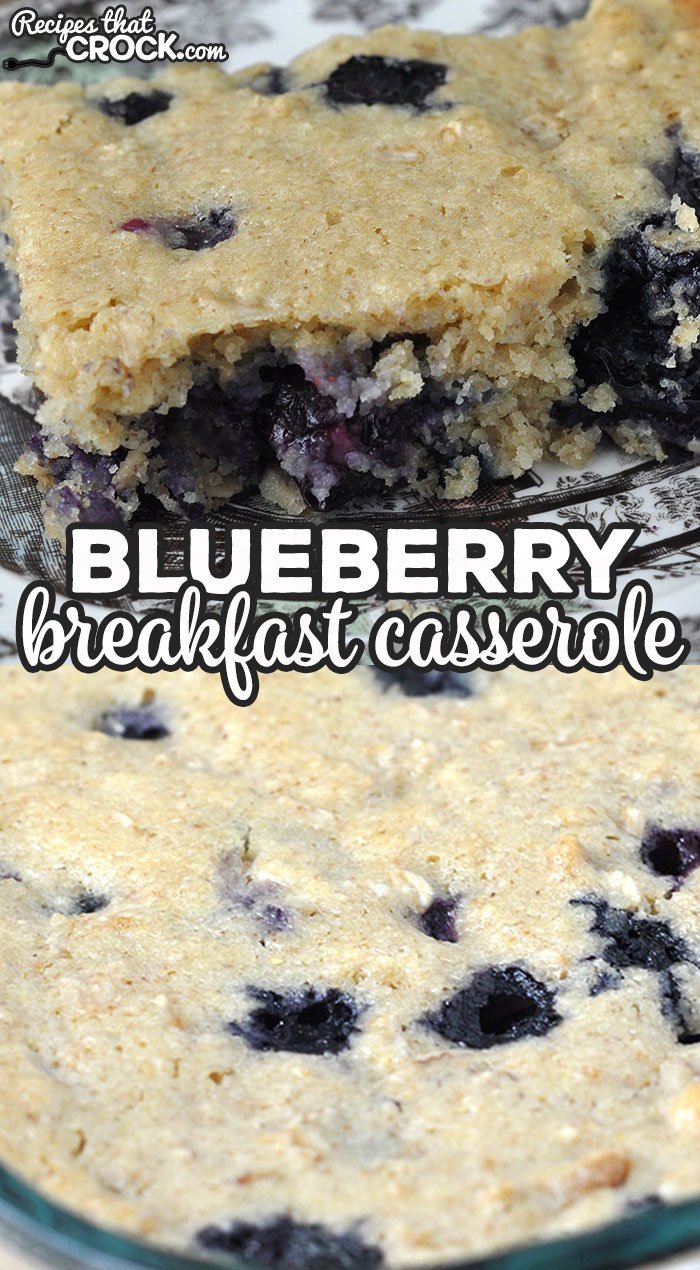 This Blueberry Breakfast Casserole oven recipe is so simple to throw together and delicious! It is a great treat for breakfast or dessert! via @recipescrock