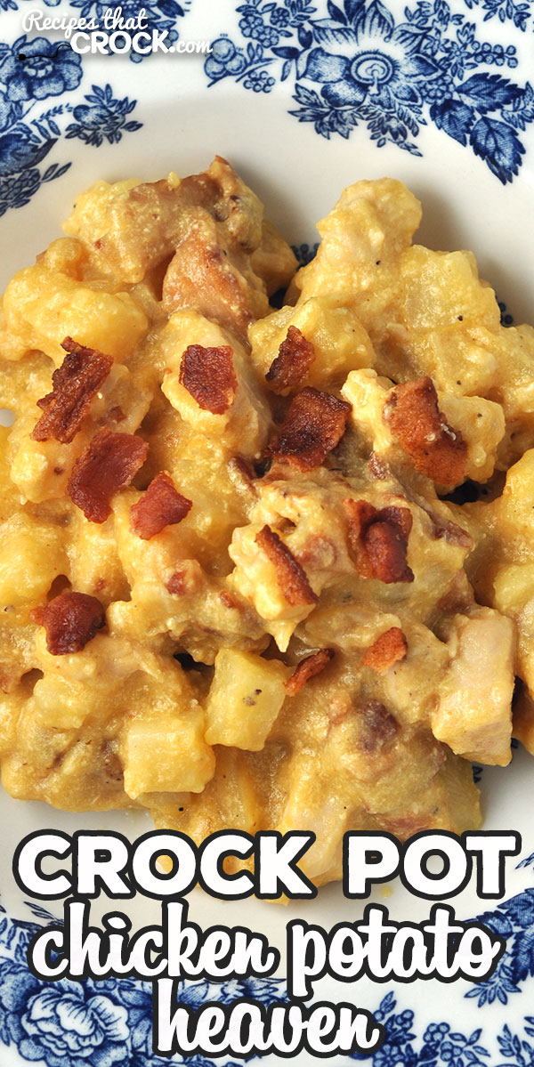 If you are looking for a heavenly dinner completely with cheese and bacon, you do not want to miss this Crock Pot Chicken Potato Heaven! Yum! via @recipescrock