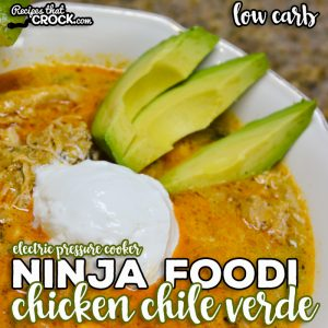 Ninja Foodi Chicken Chile Verde Soup is an easy electric pressure cooker soup recipe. Frozen chicken to flavorful soup in under an hour, this low carb soup recipe is one of our favorites!