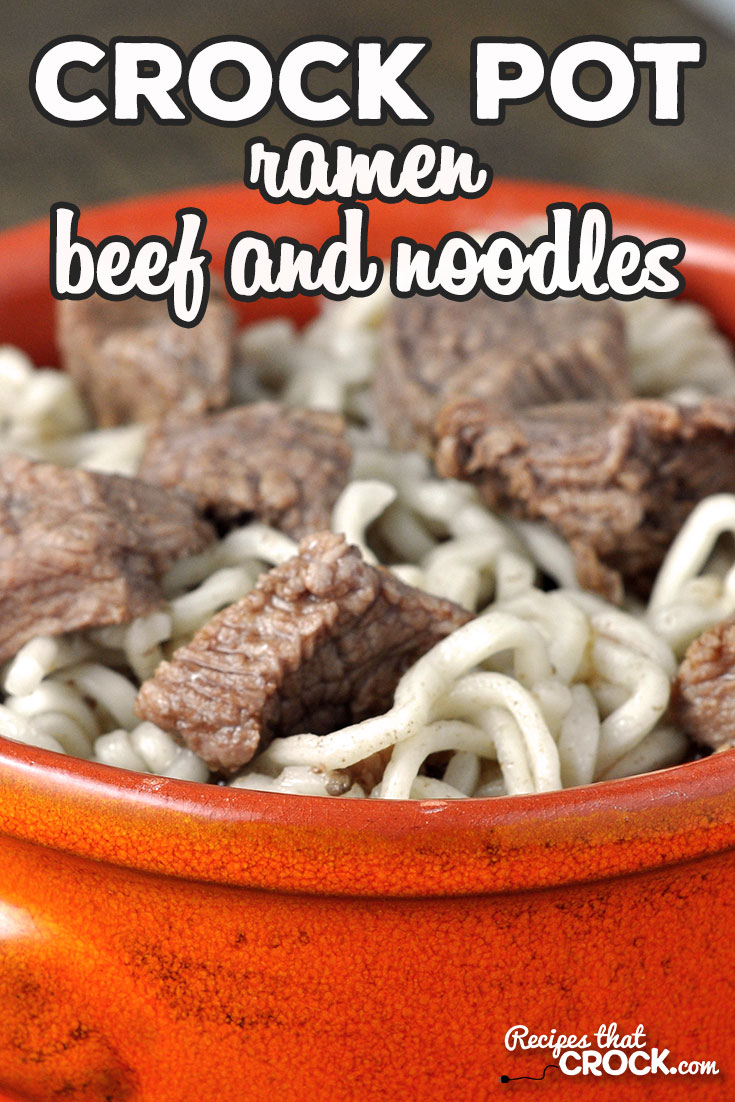 We absolutely love this easy and delicious Ramen Crock Pot Beef and Noodles recipe! These are definitely not your college days ramen noodles! via @recipescrock