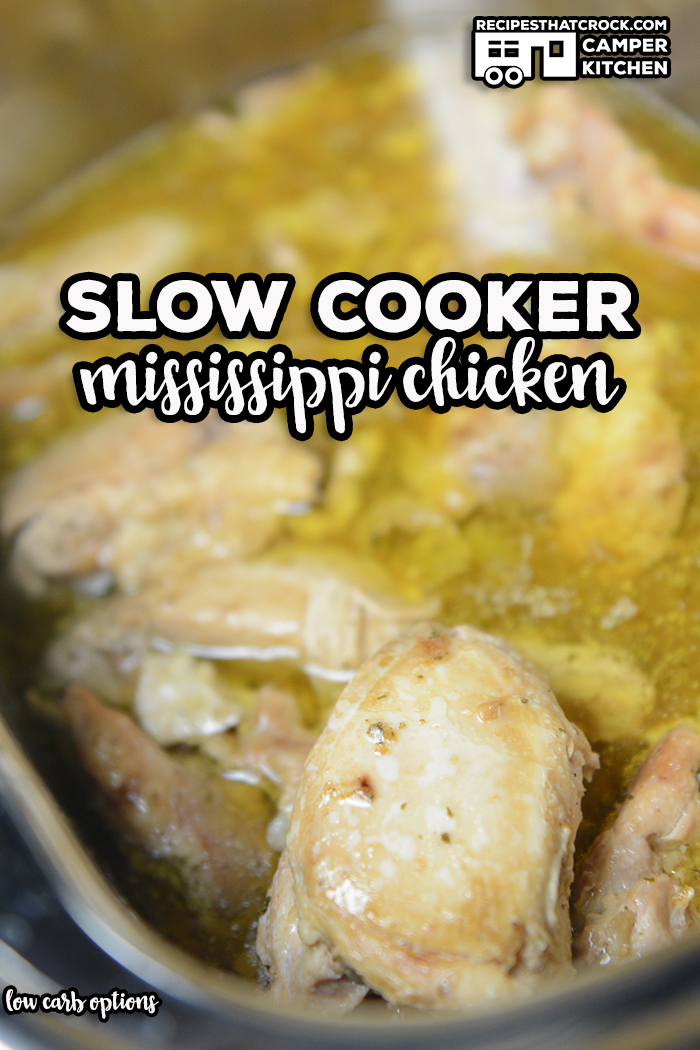 Slow Cooker Mississippi Chicken is a tried and true chicken crock pot recipe that turns out tender, savory chicken every time. This family favorite is great for beginners and experienced cooks. Low carb options also available! via @recipescrock