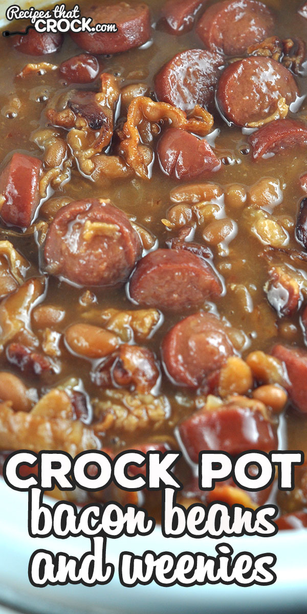This Bacon Crock Pot Beans and Weenies recipe is super yummy and absolutely delicious! You are going to love this amped up side dish! Amazing! via @recipescrock