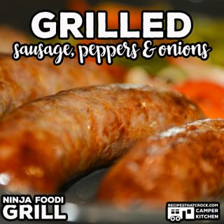 Grilled Sausage, Peppers and Onions is a super simple low carb meal you can make in your Ninja Foodi Grill or traditional grill.