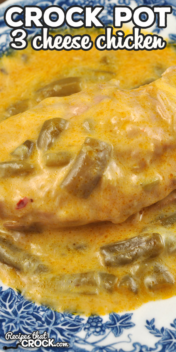 This 3 Cheese Crock Pot Chicken is another easy and delicious that is sure to become a family favorite in your house like it did in mine! via @recipescrock