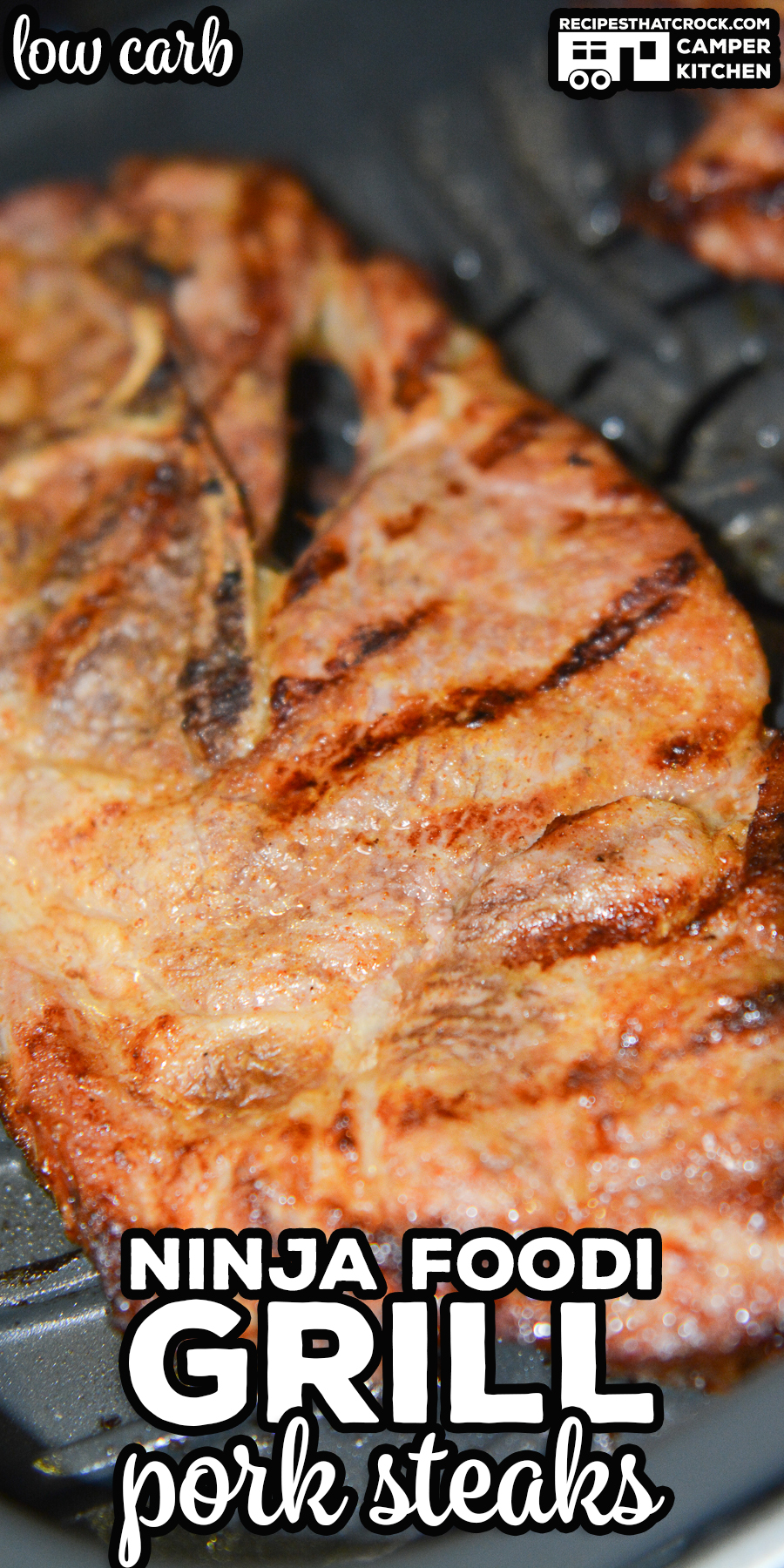 Our Ninja Foodi Grill Pork Shoulder Steaks are not only low carb, they are so flavorful and simple to make no one will believe it! You can easily make these on your Ninja Foodi Grill or outdoor on your traditional grill. via @recipescrock