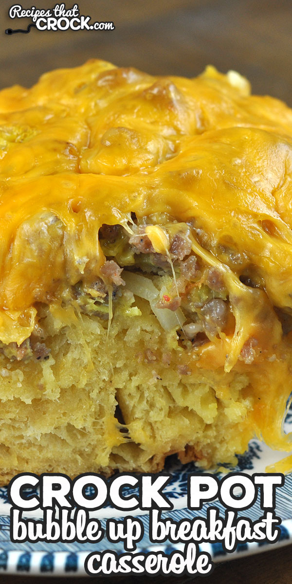 This Bubble Up Crock Pot Breakfast Casserole is an all in one breakfast casserole that will have everyone going back for more! It is so yummy! via @recipescrock