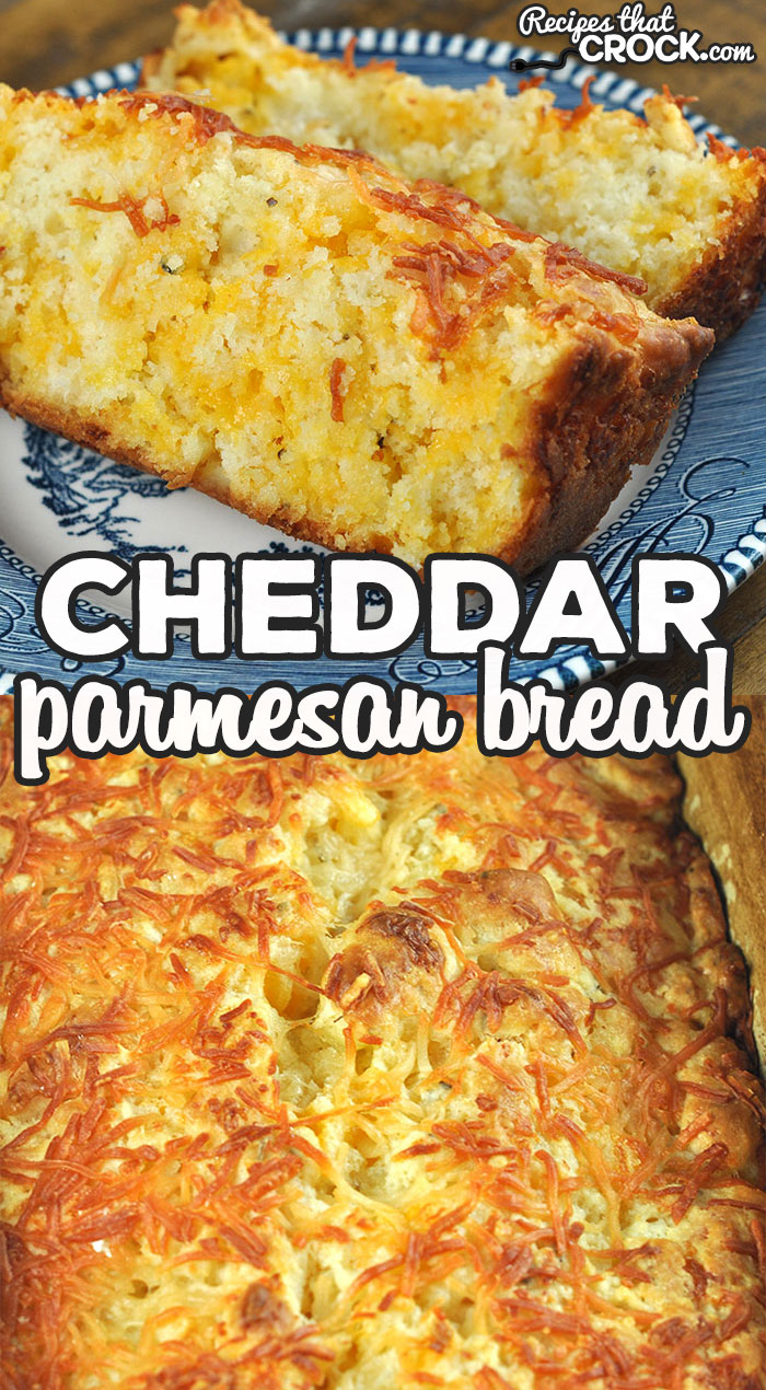 This Cheddar Parmesan Bread Oven Recipe is absolutely delicious and easy enough to throw together that a novice can make it! Such a crowd pleaser! via @recipescrock