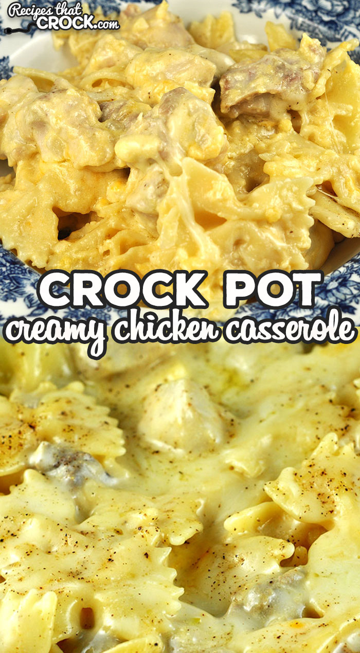 """This Creamy Crock Pot Chicken Casserole recipe is absolutely delicious and sure to make your """"go to"""" recipe list instantly! It is so yummy! via @recipescrock"""