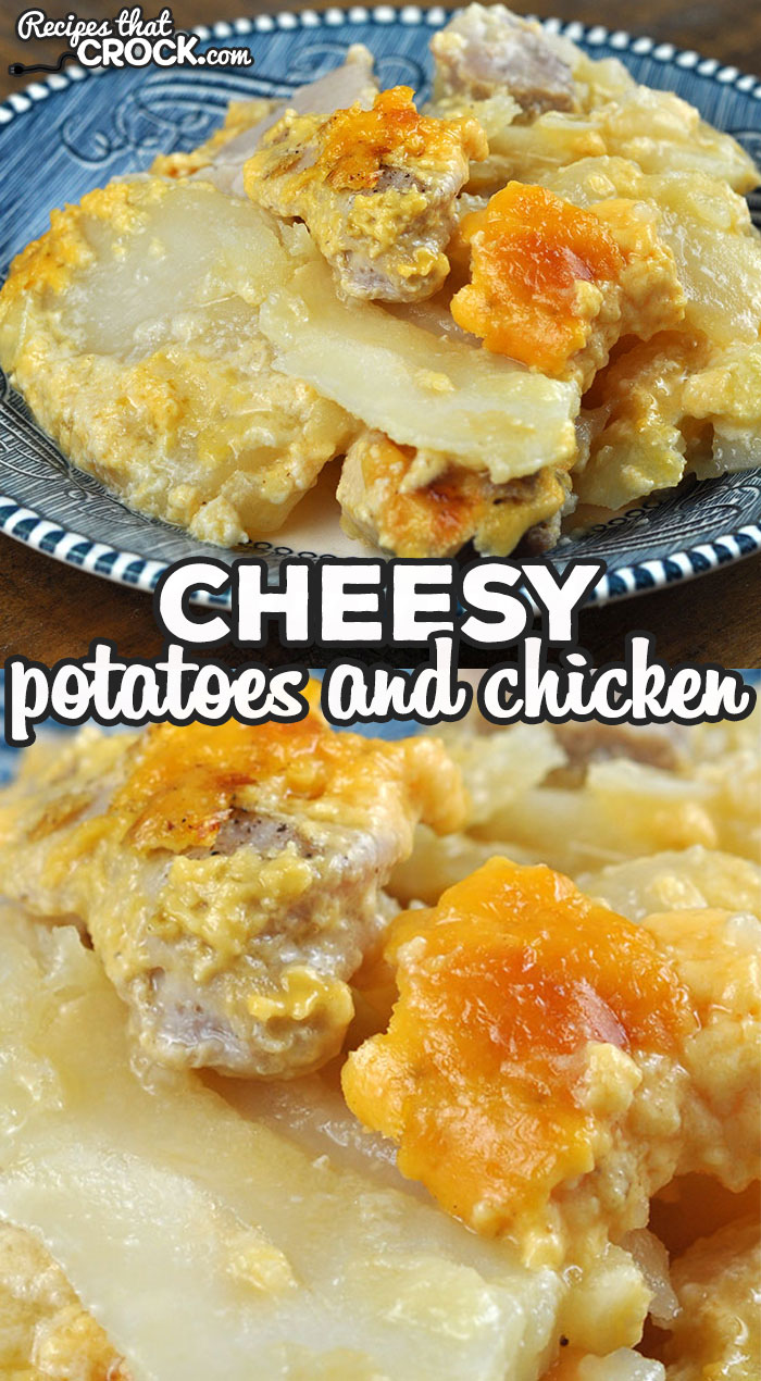 This Cheesy Potatoes and Chicken recipe for your oven is delicious and simple to throw together! It is a great comfort dish any day of the week! via @recipescrock