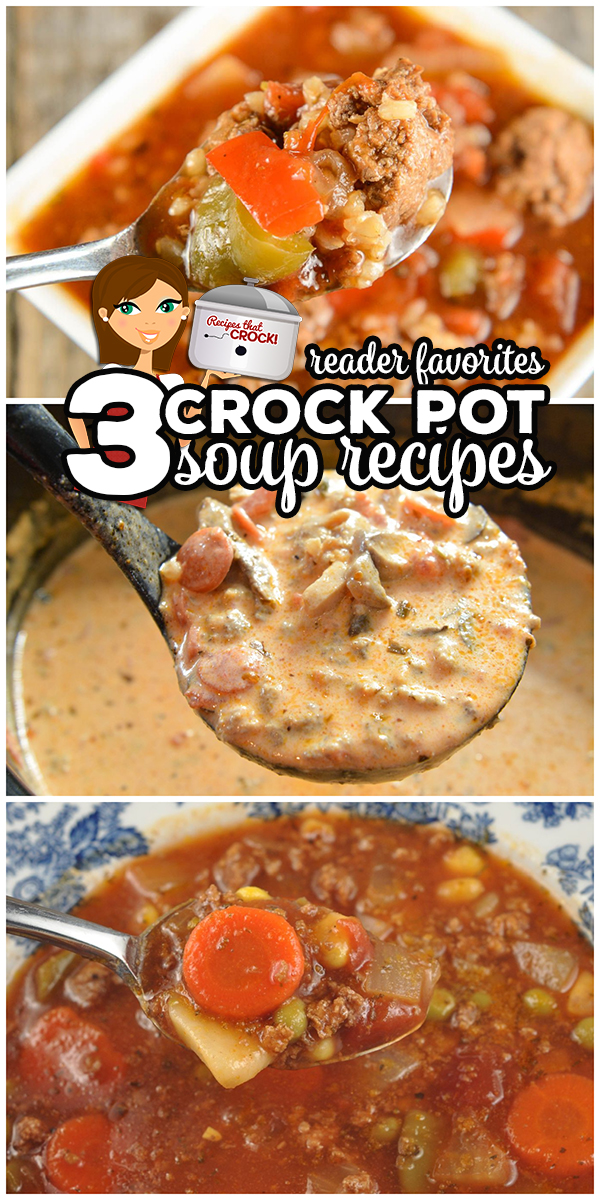 These 3 popular Crock Pot Soup Recipes are the soups our readers tell us are their favorite: Stuffed Pepper Soup, Low Carb Pizza Soup and 7 Can Vegetable Soup via @recipescrock