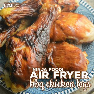 Air Fryer BBQ Chicken Legs are so easy to cook up in your Ninja Foodi or traditional air fryer. Use your favorite barbecue sauce. Low carb options.