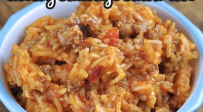 This Crock Pot Cheesy Sausage Salsa Rice recipe can be thrown together in 10 minutes flat and is super yummy! Our family loved this delicious meal!