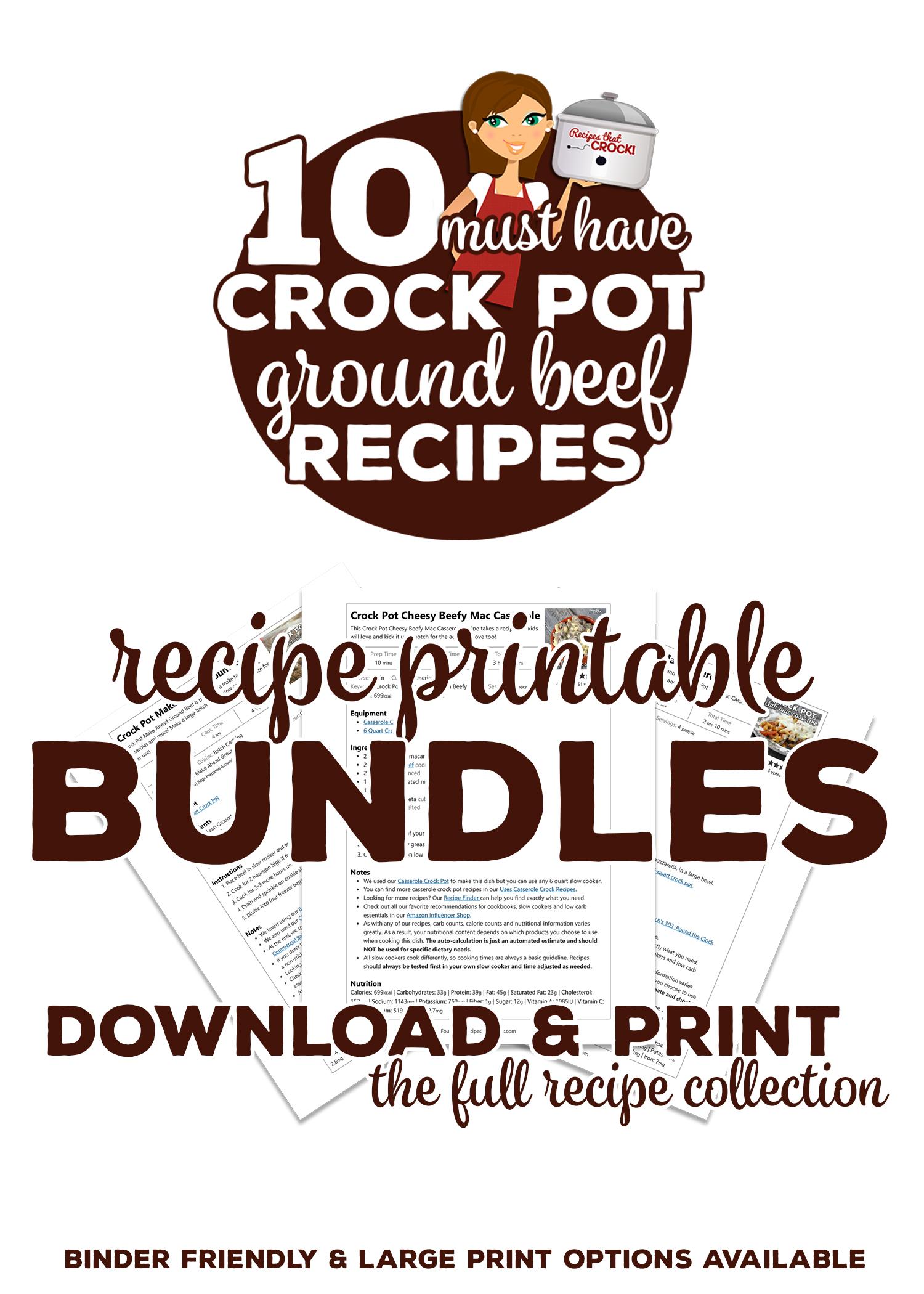 10 Must Have Ground Beef Recipes (plus Bonus) Printable Bundle Options via @recipescrock