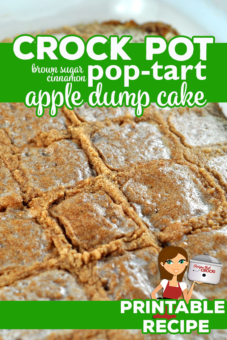 The flavors of this Crock Pot Brown Sugar Cinnamon Pop Tart Apple Dump Cake meld together perfectly to give you an amazing, rich dessert! via @recipescrock