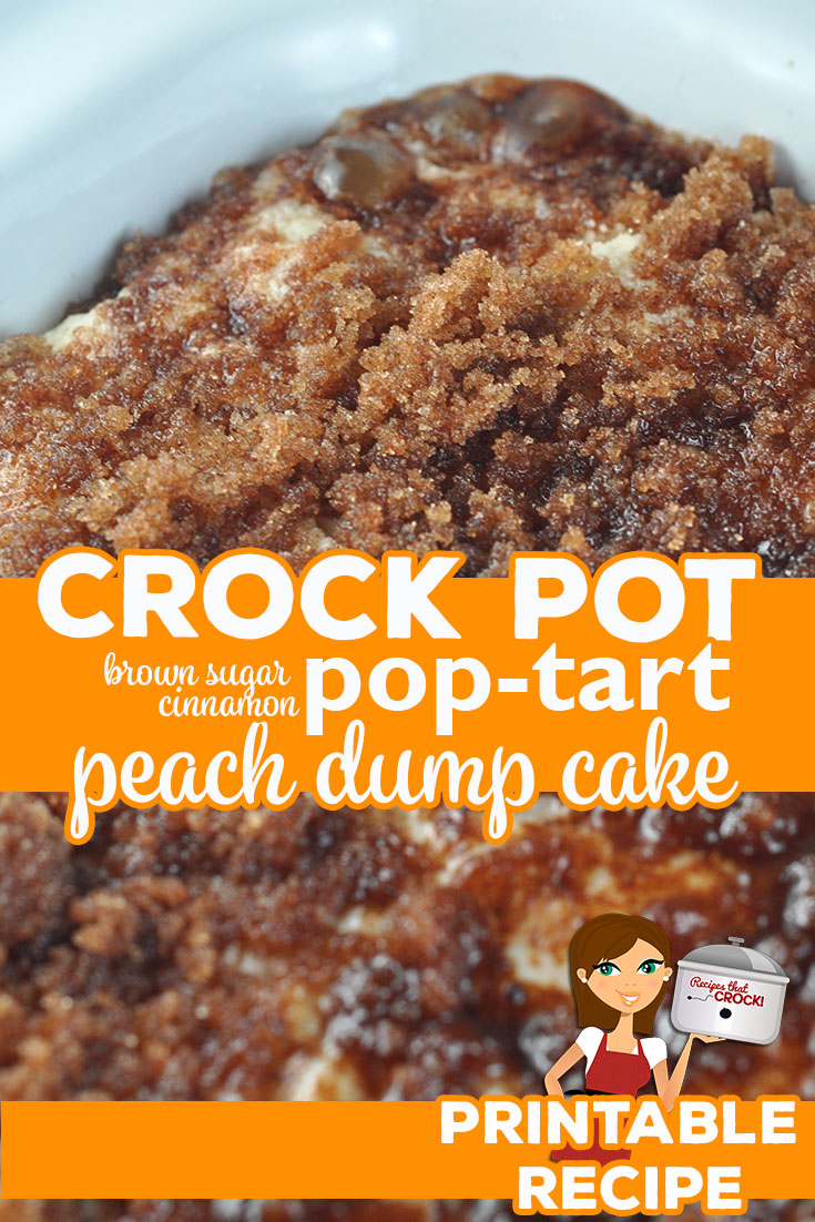 If you are in the mood for a rich dessert and love peaches, you do not want to miss this Crock Pot Brown Sugar Cinnamon Pop Tart Peach Dump Cake! via @recipescrock