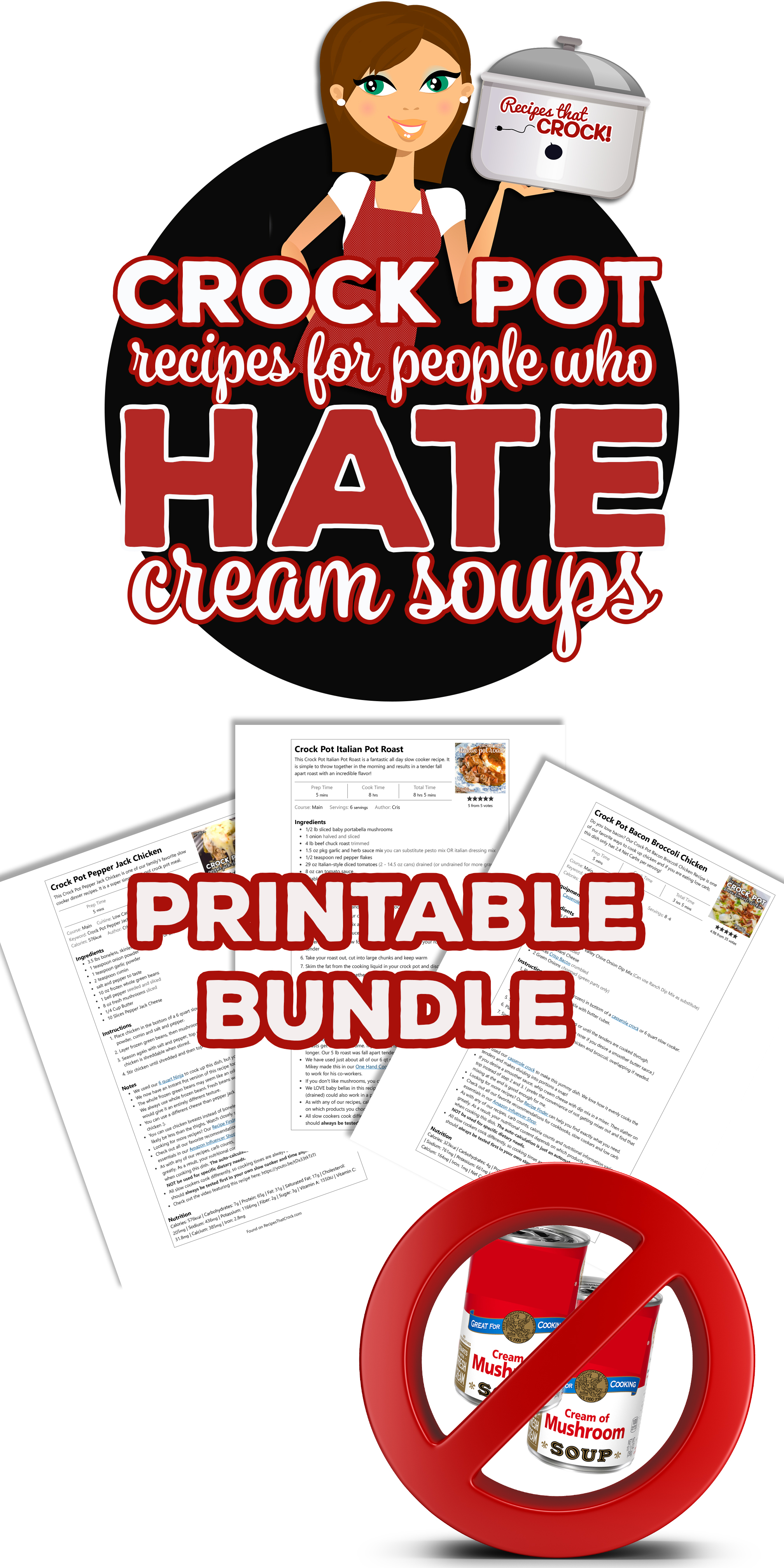 This Recipe Printable Bundle easily prints all of the recipes from our Crock Pot Recipes for People Who Hate Cream Soups recipe collection. via @recipescrock