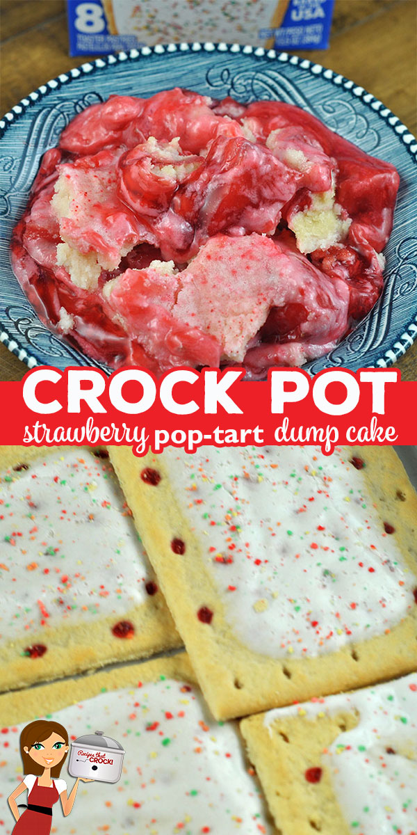 Oh my! I have a treat for you! This Crock Pot Strawberry Pop Tart Dump Cake recipe is incredibly simple and so rich and delicious! You are going to love it! via @recipescrock