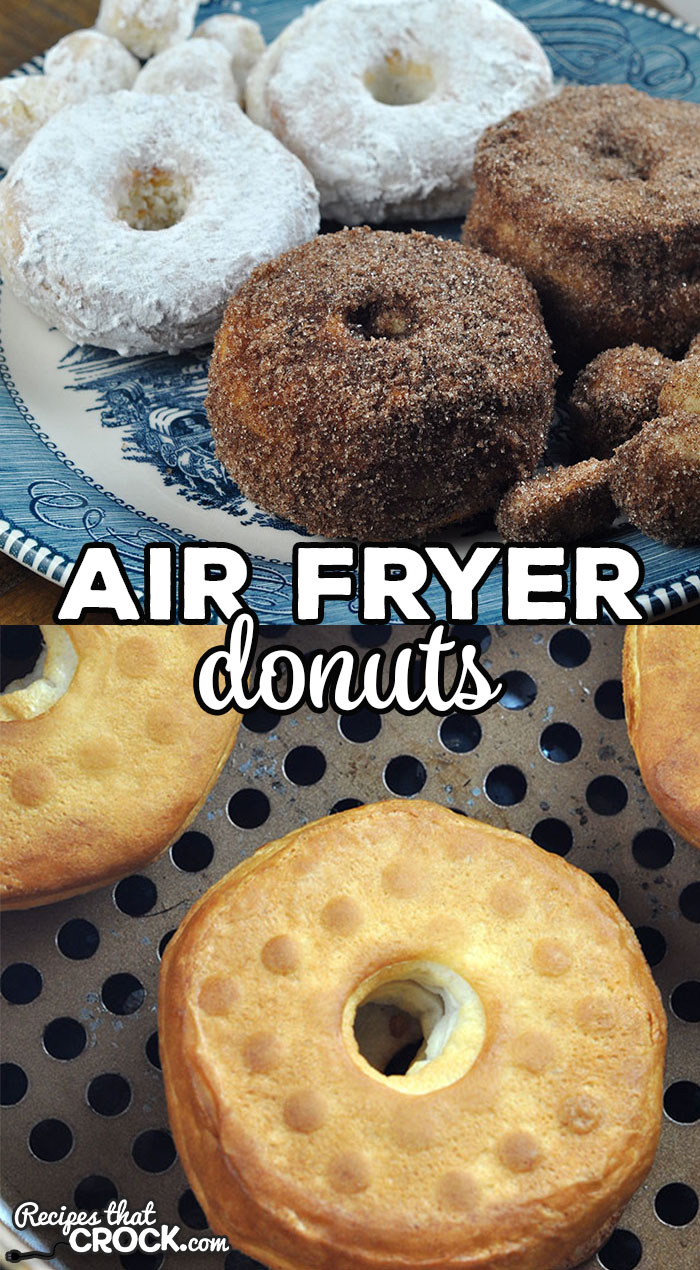 With this Air Fryer Donuts recipe, you can make delicious powdered sugar and cinnamon sugar donut holes and donuts at home! It is super easy to do too! via @recipescrock