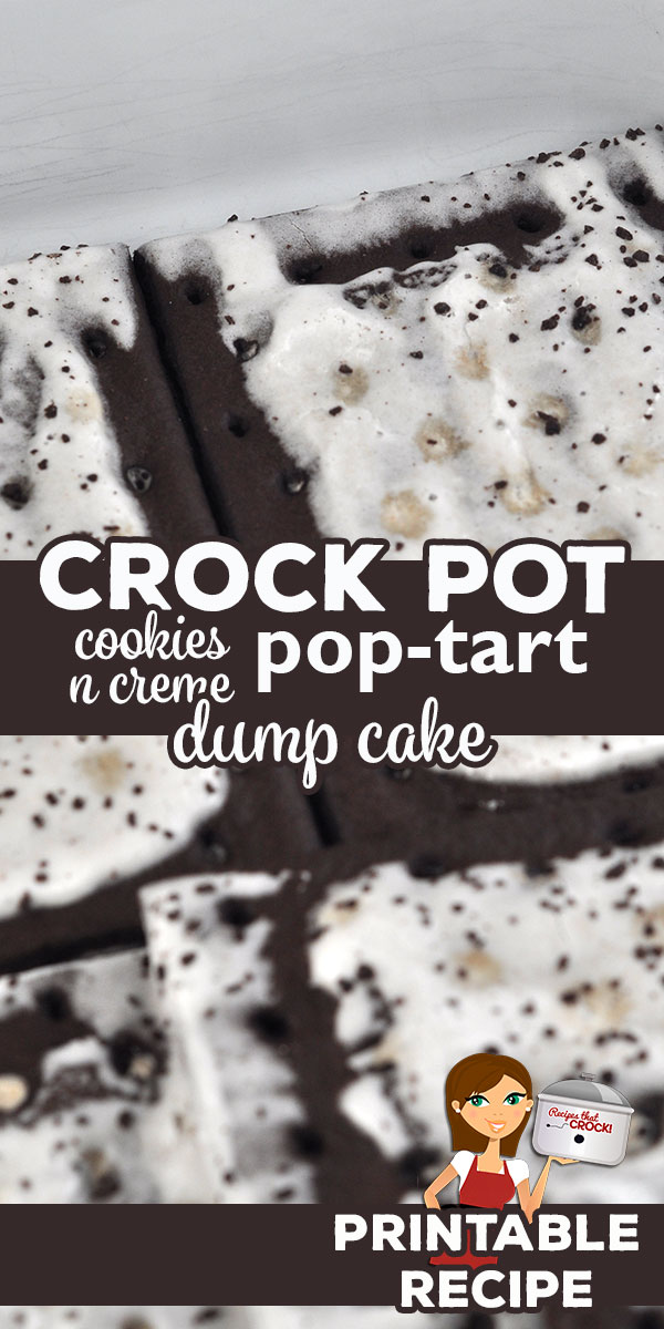 This Crock Pot Cookies n Creme Pop Tart Dump Cake recipe is a chocolate lover's perfect recipe! It is so chocolaty and incredibly delicious!   via @recipescrock
