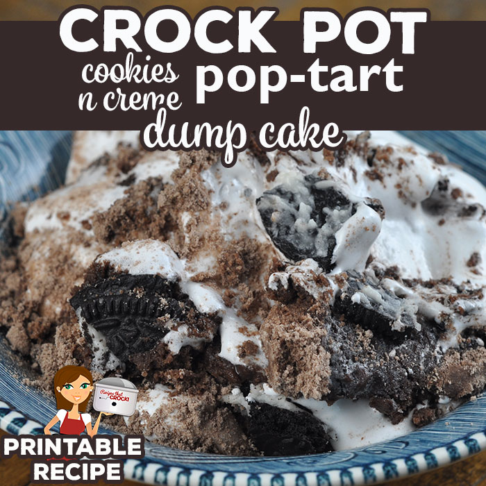This Crock Pot Cookies n Creme Pop Tart Dump Cake recipe is a chocolate lover's perfect recipe! It is so chocolaty and incredibly delicious!