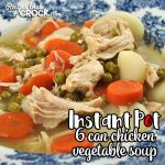 You can have a delicious soup in ready in less than 45 minutes with this 6 Can Instant Pot Chicken Vegetable Soup recipe! Easy and delicious.